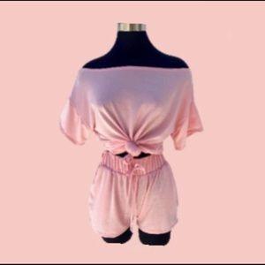 Blush pink 2 piece short set